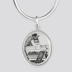 NY Broadway Times Square - Silver Oval Necklace