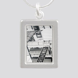 NY Broadway Times Square - Silver Portrait Necklac