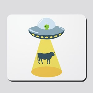 Alien Spaceship And Cow Mousepad