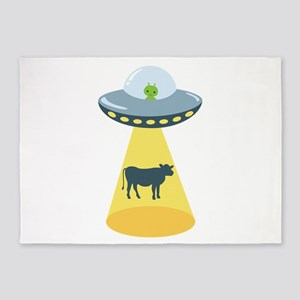 Alien Spaceship And Cow 5'x7'Area Rug