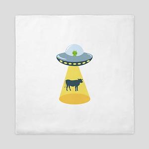 Alien Spaceship And Cow Queen Duvet