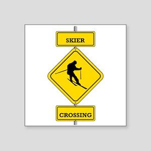 Skier Crossing Sticker