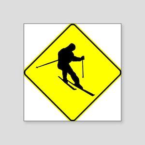 Skier Crossing Sign Sticker