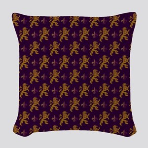 Gold Lions Fleurs On Purple Woven Throw Pillow