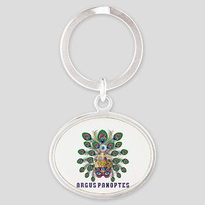 Mardi Gras Argus Panoptes Oval Keychain