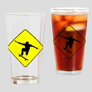 Skateboarder Crossing Drinking Glass