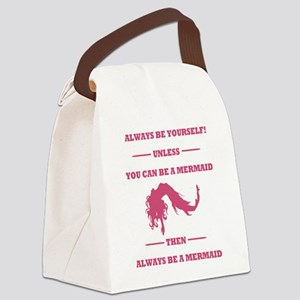 Pink Always Be a Mermaid Canvas Lunch Bag