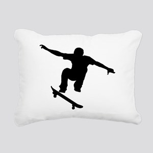 Skateboarder Silhouette Rectangular Canvas Pillow