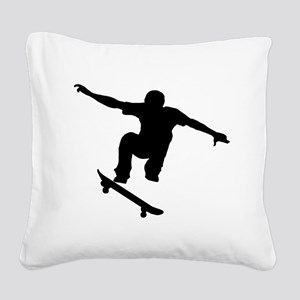 Skateboarder Silhouette Square Canvas Pillow