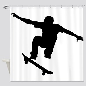 Skateboarder Silhouette Shower Curtain
