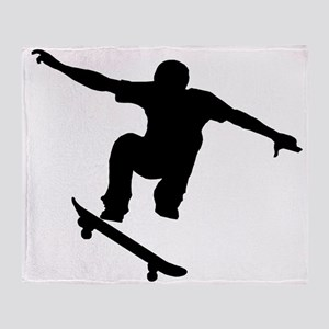 Skateboarder Silhouette Throw Blanket