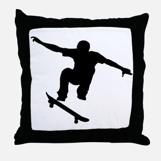Skateboarder Silhouette Throw Pillow