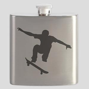 Skateboarder Silhouette Flask