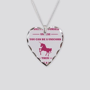 Pink Always Be a Unicorn Necklace Heart Charm