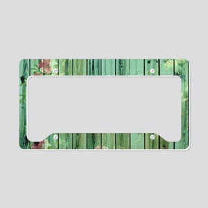 Summer Vintage Floral Pattern License Plate Holder