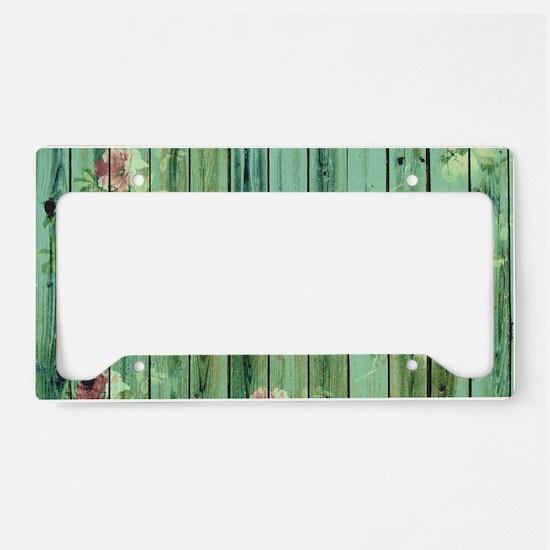 Summer Vintage Floral Pattern License Plate Holder