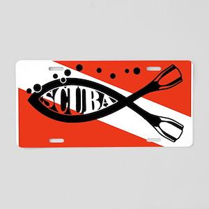 Scuba Fish Wht Aluminum License Plate