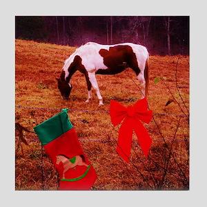 Christmas painted pony Tile Coaster