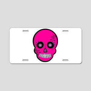 Pink Sugar Skull Day of the Dead Aluminum License