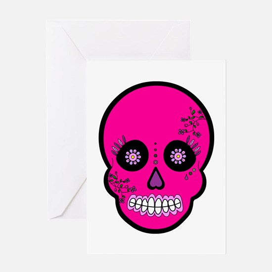 Pink Sugar Skull Day of the Dead Greeting Card