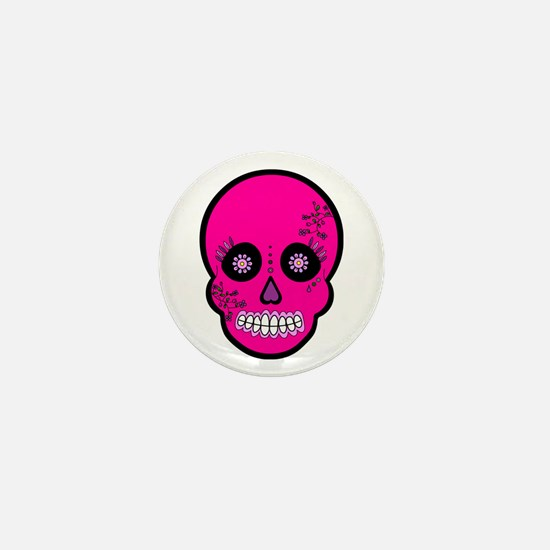 Pink Sugar Skull Day of the Dead Mini Button