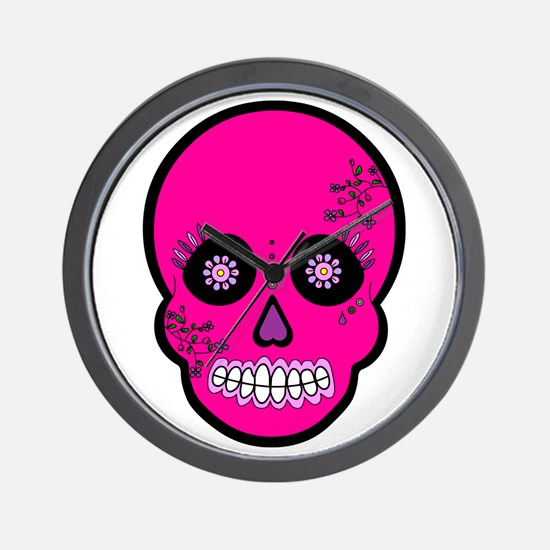 Pink Sugar Skull Day of the Dead Wall Clock