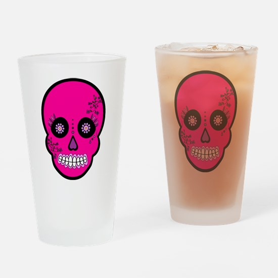 Pink Sugar Skull Day of the Dead Drinking Glass