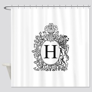 White Personalized Monogram Shower Curtain