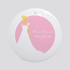 Here Comes the Bride Blonde Hair Pink Ornament (Ro