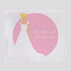 Here Comes the Bride Blonde Hair Pink Throw Blanke