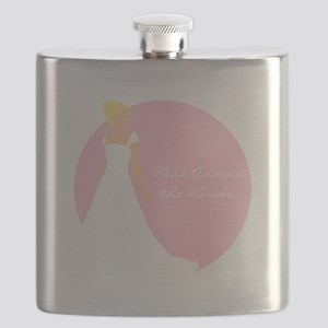 Here Comes the Bride Blonde Hair Pink Flask