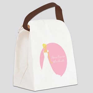 Here Comes the Bride Blonde Hair Pink Canvas Lunch