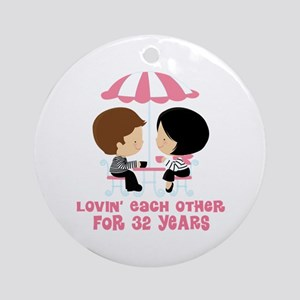 32nd Anniversary Paris Couple Ornament (Round)
