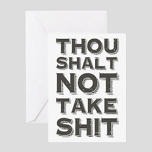 Funny motivational greeting cards cafepress thou shalt not take shit greeting cards m4hsunfo