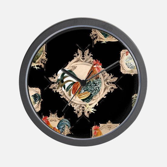 French Country Rustic Roosters, Vintage Wall Clock
