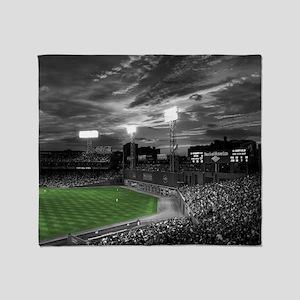 Baseball Field At Night Throw Blanket