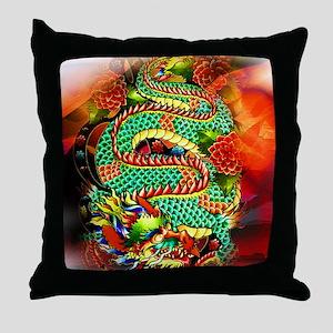 Tattoo Oriental Dragon Throw Pillow
