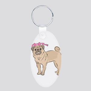 Cute Pug dog Girl with a pink bow Keychains