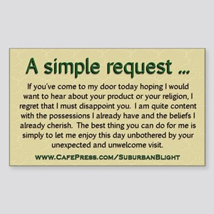 """""""No Soliciting Simple Request"""" Sticker (Rectangle)"""