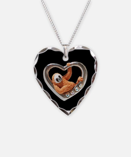 Heart Sloths Hang Around - black Necklace