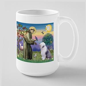 St. Francis and Old English Sheepdog Large Mug
