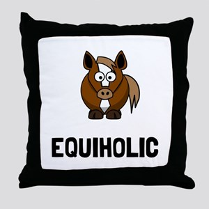 Equiholic Horse Throw Pillow