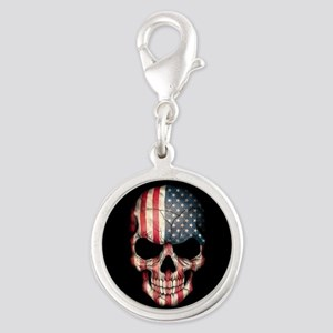American Flag Skull Charms