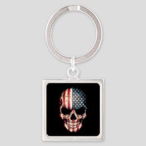 American Flag Skull Keychains