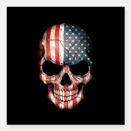 "American Flag Skull Square Car Magnet 3"" x 3"""