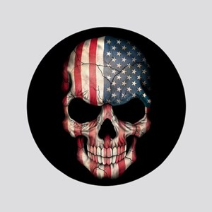 "American Flag Skull 3.5"" Button"