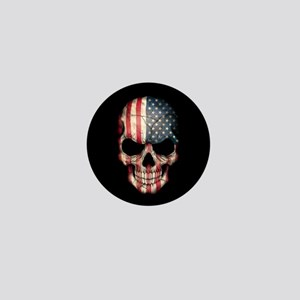 American Flag Skull Mini Button