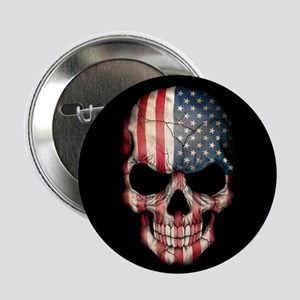 "American Flag Skull 2.25"" Button"
