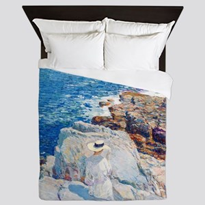 The South Ledges, Appledore by Childe  Queen Duvet
