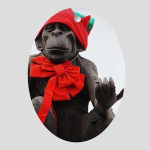 Christmas Chimp Oval Ornament